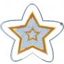 Vánoční ozdoba - hvězda s aplikací a dvojitým prošitím
